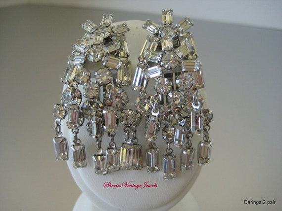 Vintage Rhinestone Earrings  Diamond Waterfall  Style 2 inch Dangles  Statement jewelry