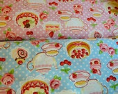 Blue polka dots with teapot and cake fabric from Cosmo japan - Half Yard