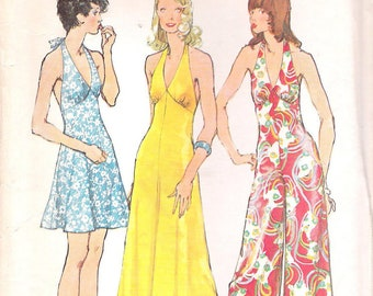 Simplicity 5626 1970s Backless Halter Mini or Maxi Dress or Jumpsuit Sewing Pattern Size 12 Bust 34