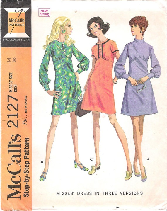 Vintage McCall's 2127 Mod or Boho Dress with Full Sleeves, Cuffs and Heart Shaped Bodice Sewing Pattern Bust 36 Uncut