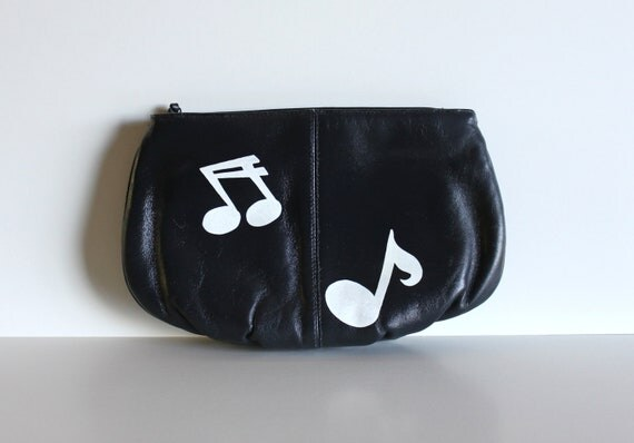 VINTAGE navy blue CLUTCH with hand painted music notes- Beats