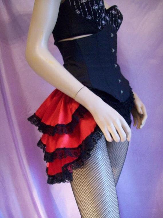 red bustle skirt