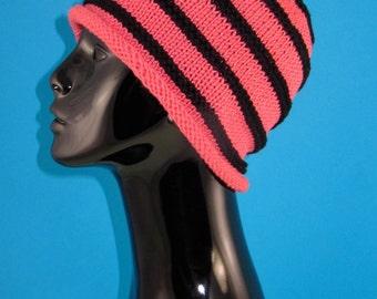 Digital file Pdf Download knitting pattern - Stripe roll Brim Beanie pdf download knitting pattern