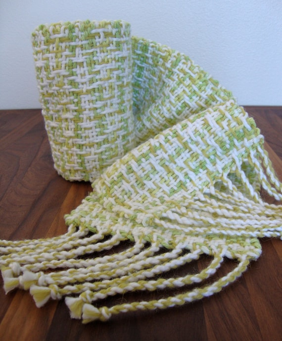 Handwoven White and Apple Green Scarf