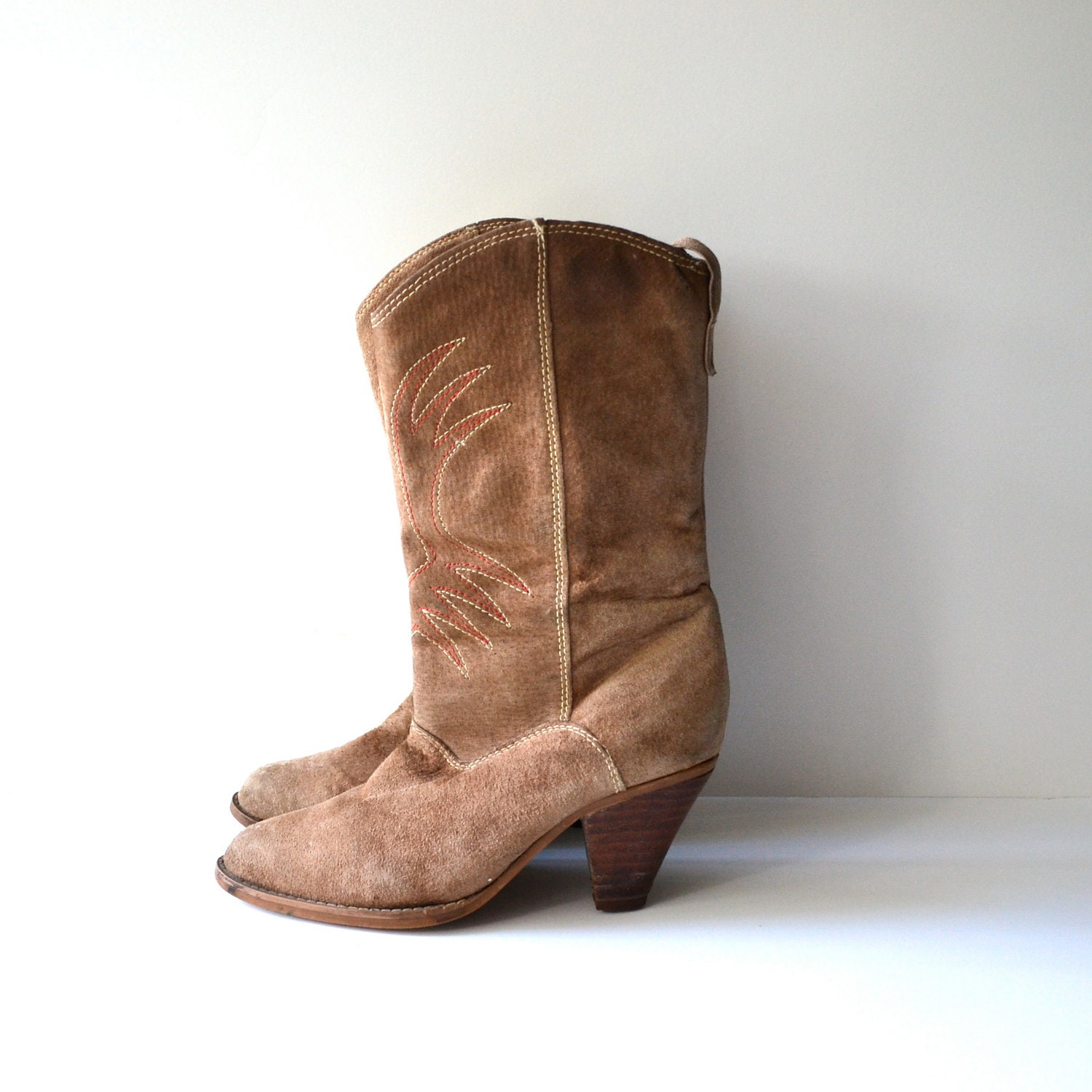 vintage suede cowboy boots high heel western boot size