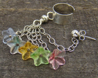Sterling ear cuff with chain and pastel glass flower dangles and piercing