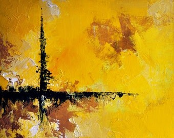 Cross roads - original abstract oil painting , TEXTURED 13x16 inch