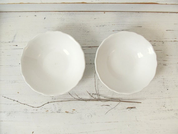 Two Vintage White Heirloom Ironstone Bowls