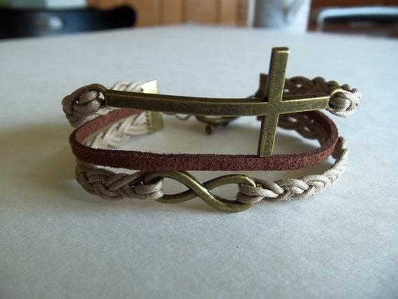 Sideways Cross Bracelet Leather Bracelet Sideways Cross