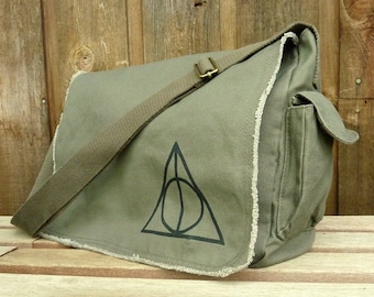 Canvas Messenger Bag, Hand Painted