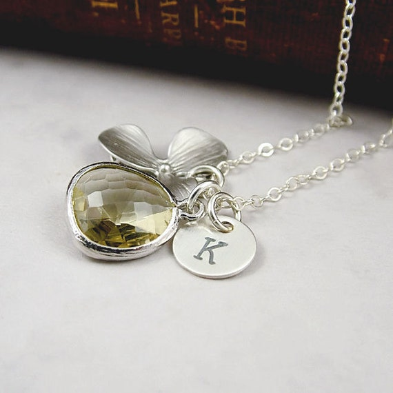 Orchid Necklace, Yellow Glass and Custom Initial Necklace, Orchid Jewelry, Weddings, Bridesmaid Gift, Sterling Silver, Isobella