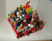 Handcrafted Wooden Star Wars Lego Minifigure Pyramid Display Shelf - White with Red  2X Lego plates and 10 weapon clips