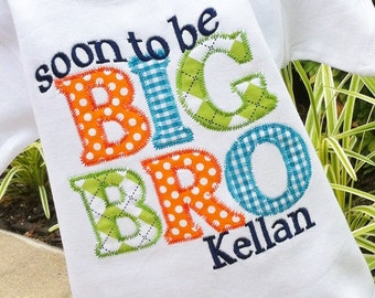 Boys Personalized Appliqued BIG BRO Tee Announcement Tee