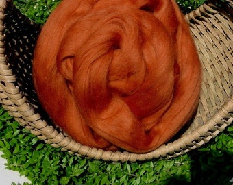 "Merino Wool Roving, "" Pumpkin "" 4 ounces"