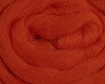 Merino Wool Roving, Burnt Orange, 4 ounces