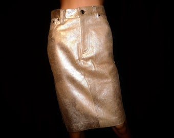"""She Who Has the GOLD - Vintage - Couture - Donald Pliner - GOLD Lame - Metallic - Leather - Skirt made in Italy - 28"""" waist -size 4 like new"""