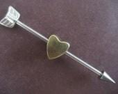 Industrial Barbell 14g Earring, Cupids Arrow Industrial Barbell Ear Piercing Arrowhead Heart Removable Charm 14g 14 16g Gauge Industrial