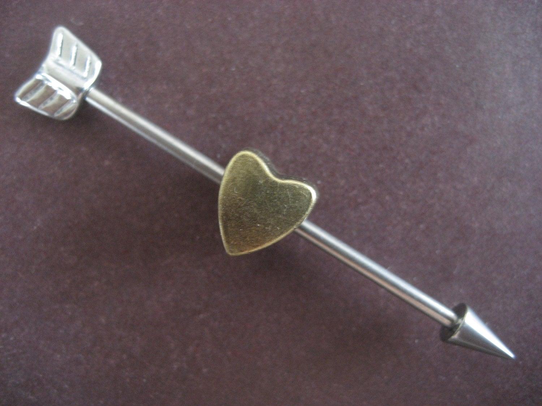 Industrial Barbell 14g Earring Cupids Arrow Industrial