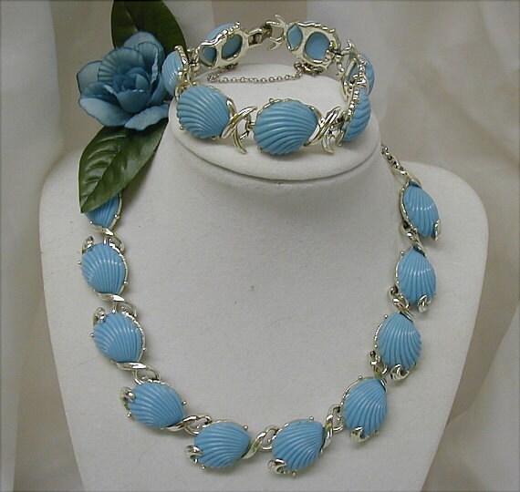 Pastel Blue Coro Thermoset Necklace and Bracelet
