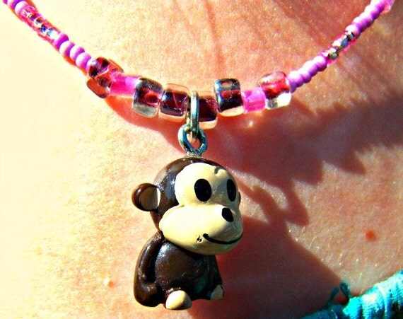 Monkey Charm Necklace Kids Jewelry Direct Checkout Black Friday Etsy