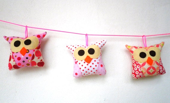 Set of three Mobile tiny owl decoration/collection/Ready to ship