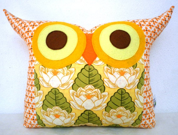 gift under 20 Last one super SALE/Amy Butler fabric /Pond Lily owl pillow/Ready to ship