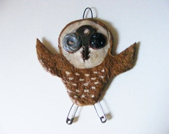 Primitive Halloween Folk Art  Barn Owl Ornament