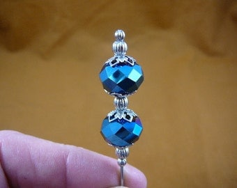 Two bead blue iridescent faceted glass beaded filigree cap and silver beads hatpin ladies pin hat U-70-14