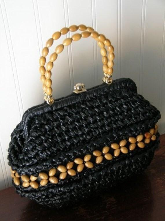 Vintage Navy Blue Raffia Weave and Wooden Beaded Handbag