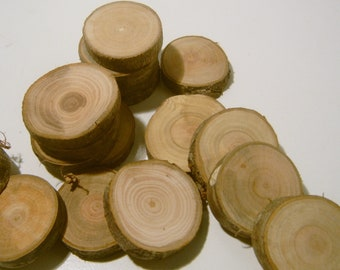 75  Wooden Tree Branch Slices slightly over an inch