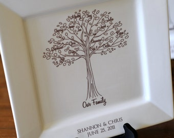 Family Tree Platter--Bride and Groom Wedding Gift for Parents