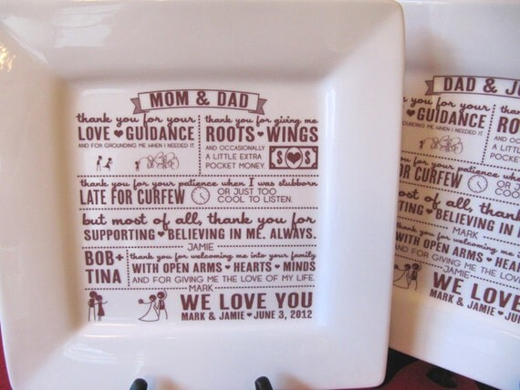 Wedding Gifts To Parents From Bride And Groom: Parent Wedding GiftThank You Platter From Bride And Groom