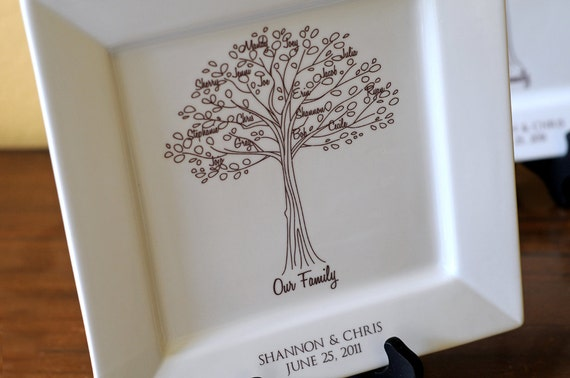 Wedding Gifts For Parents Of The Couple : Family Tree Platter--Bride and Groom Wedding Gift for Parents