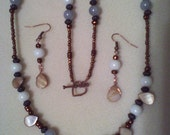 Light Blue Gray, White and Bronze with shell Bead Necklace and matching earrings, made in Michigan USA
