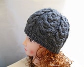 Grey Cable Knit Hat, Knitted Hat, Beanie Hats for Men, Beanies for Women, Womens Beanie Hats, Knit Hat, Grey Beanie, Wool Hat