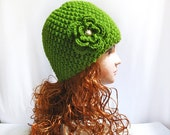 Hand Knit Hat-Thick Wool Winter Hat for Women