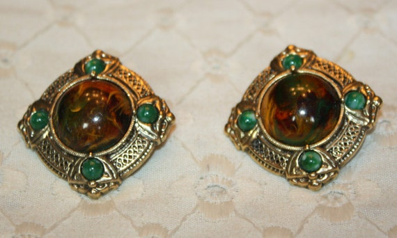 Gold Tone Vintage Earrings Converted From Clip to Pierced.