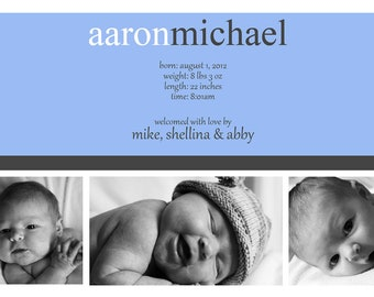 Birth Announcement: Horizontal Three 4x6