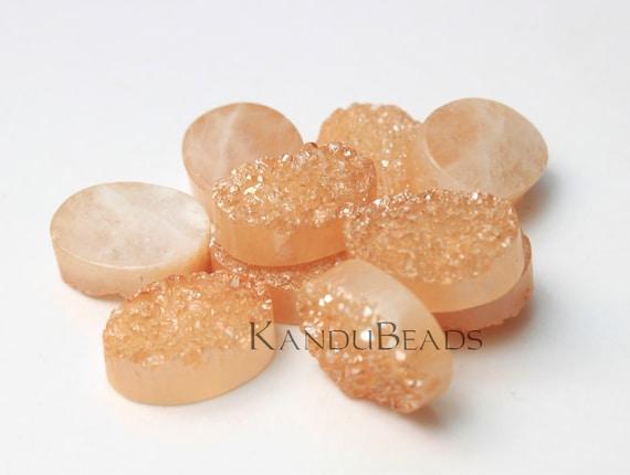 Peach Color Quartz Titanium Rectangle Oval geode bead, 10x15mm (ONE BEAD)