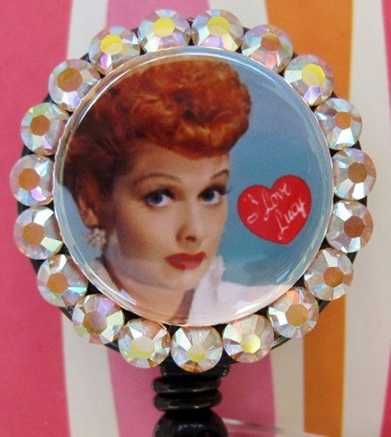I Love Lucy Lucille Ball Inspired Badge Holder ID retractable reel with Swarovski Crystals great for Nurses Teachers Students