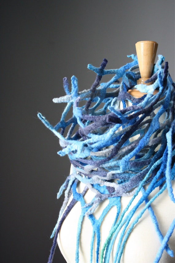 Felted scarf wool Blue jeans Fish net nest scarf by VitalTemptation