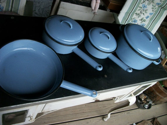 Vintage Baby Blue Enamelware Pots And Pans Set By Rustysecrets