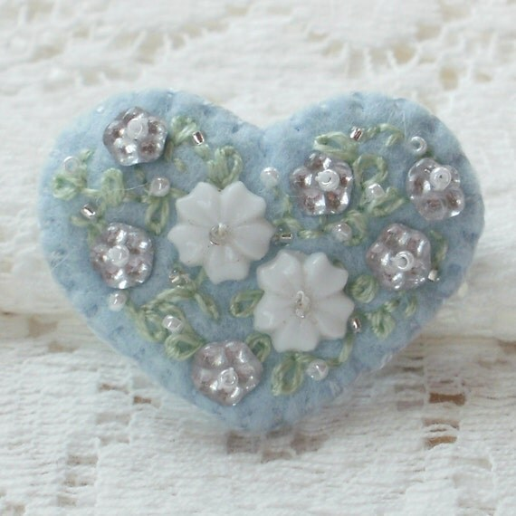 Something Blue -- Small Handmade Felt Bead and Embroidery Heart Pin
