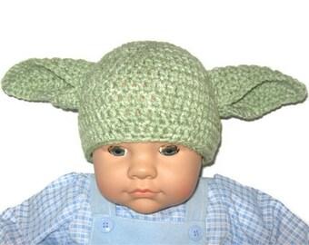 Yoda Crochet Hat, NEWBORN Size