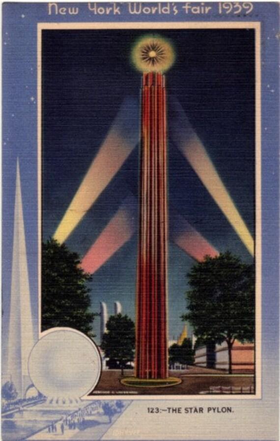 Vintage Postcard - 1939 New York World's Fair - Star Pylon at Night (Unused)