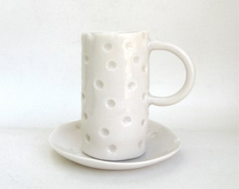 hand built translucent porcelain cup and dish  ...   demitasse