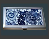 Business Card Case - Vintage Kimono Fabric - Indigo Blue.