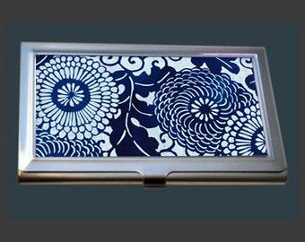 Business Card Case - Vintage Kimono Fabric - Indigo Blue.