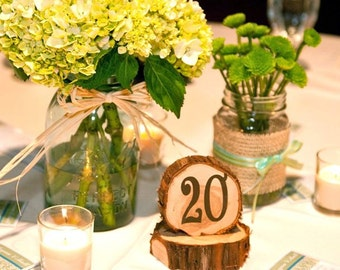 Wedding Table Numbers, rustic cedar circles, set of 26, natural unfinished cedar wood for rustic or woodland weddings
