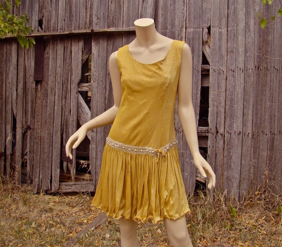 1960's Goldie Dress- Gold Party Dress